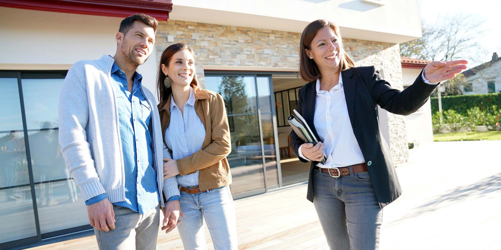 A real estate agent shows off a commercial property