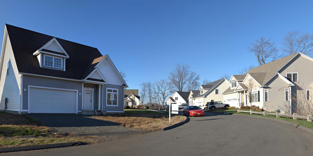 A street view of a suburban neighborhood